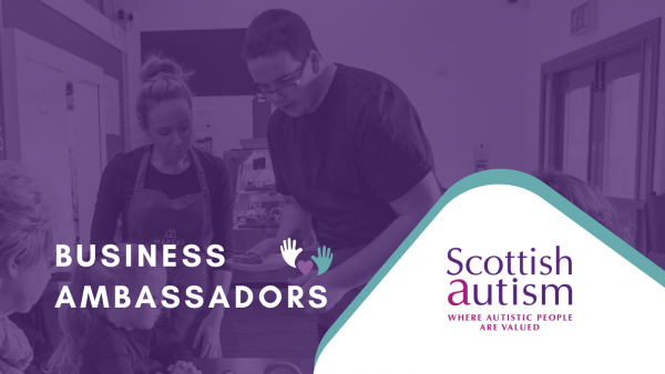 Scottish Autism logo, Business Ambassadors, two people serving in a cafe