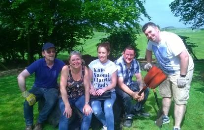 Network Rail volunteers building a sensory garden