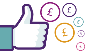 A big thumbs up with pound coins for a Facebook Fundraiser