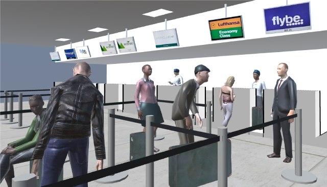Early development screenshots, modelled on Aberdeen Airport Check In & Boarding Area