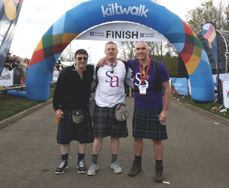 Supporters taking part in the Kiltwalk