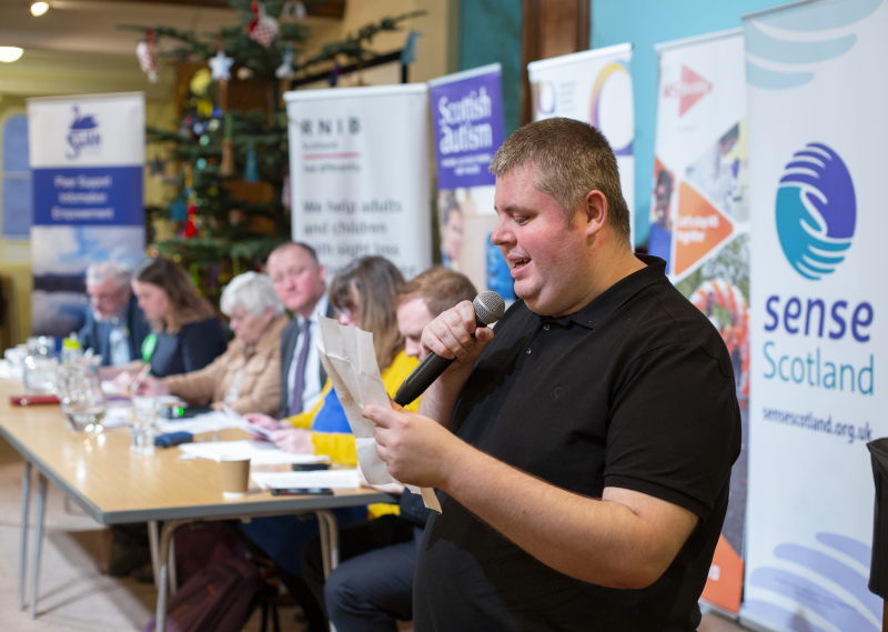 Autistic attendee David Weir, asking representatives from the main political parties a question during the event.
