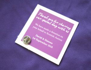 Pin Badge Wedding Favour Writing