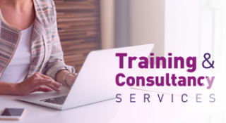 Training and Consultancy Logo with someone working on a laptop