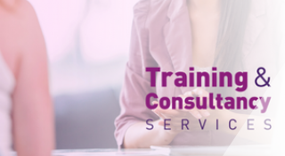 Training and Consultancy Logo with people talking